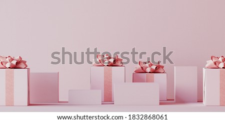 Minimal product background for Christmas, New year and sale event concept. Pink gift box with pink ribbon bow on pink background. 3d render illustration. Clipping path of each element included.