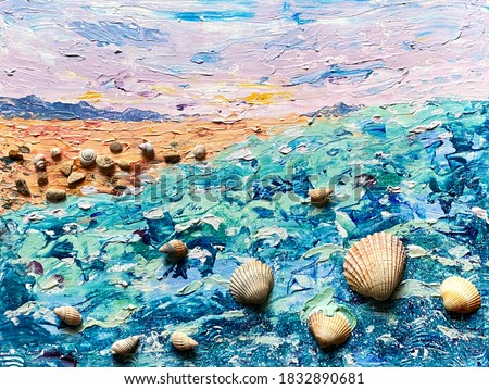 Seascape mix media painting sunset and seashells. Hand drawn landscape Royalty-Free Stock Photo #1832890681