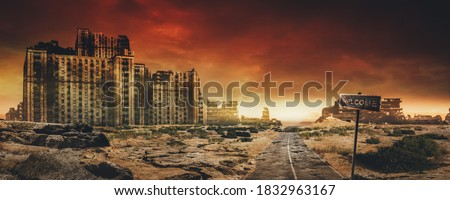 Post apocalyptic background image of desert city wasteland with abandoned and destroyed buildings, cracked road and sign. Royalty-Free Stock Photo #1832963167