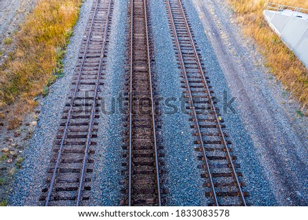 Railway track pictured from above railway station