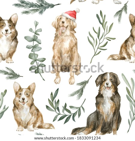 Watercolor seamless pattern with cute christmas dogs, corgi, retriever, bernese mountain dog, pine, leaves. Winter background with home pet. Cute nursery background for children textile, print, cover