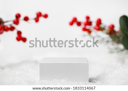 Winter Christmas scene with Ilex twigs on the background. Light white geometric pedestal for product presentation, cosmetics. Snow cube stand for advertising display #1833114067