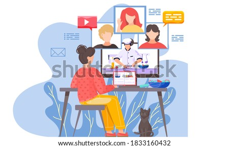 A girl sits in front of a computer monitor and communicates with people at a distance. Girl at a group online cooking lesson. A male chef demonstrates a master class on cooking salad. Culinary webinar Royalty-Free Stock Photo #1833160432