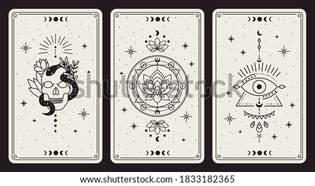 Magic occult cards. Vintage hand drawn mystic tarot cards, skull, lotus and evil eye magical symbols, magic occult cards vector illustration set. Esoteric, astrological elements for prediction #1833182365