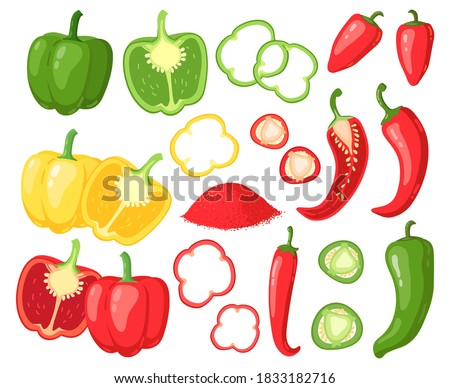Cartoon peppers. Sweet red, yellow and hot peppers, bell pepper, juicy farm vegetables, pepper slices, cutaway peppers vector illustration set. Veggie rings, seasoning for cooking food #1833182716