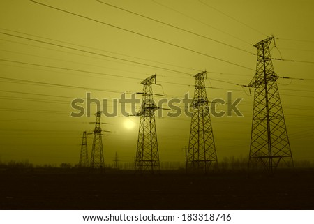 electric tower in the evening sky, power transmission facilities #183318746