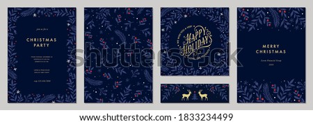Modern universal artistic templates. Merry Christmas Corporate Holiday cards and invitations. Floral frames and backgrounds design. Vector illustration. #1833234499