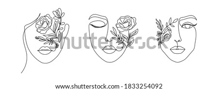 Women's faces in one line art style with flowers and leaves.Continuous line art in elegant style for prints, tattoos, posters, textile, cards etc. Beautiful women face Vector illustration Royalty-Free Stock Photo #1833254092