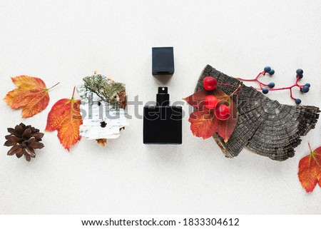 black perfume bottle on a background of autumn leaves, apples, and fragments of wooden bark. Concept of autumn woody fruity scent. Copy space Royalty-Free Stock Photo #1833304612