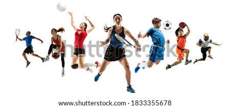 Collage of different professional sportsmen, fit men and women in action and motion isolated on white background. Made of 5 models. Concept of sport, achievements, competition, championship. Royalty-Free Stock Photo #1833355678
