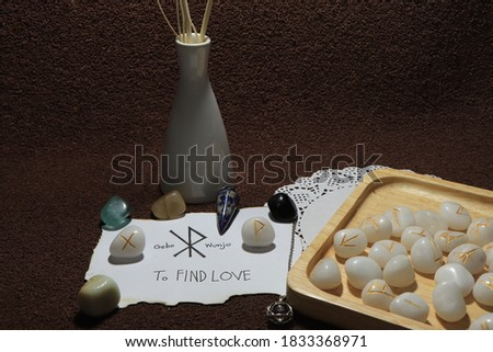 The picture shows the cast of spells by using the runes with the meaning of the spell. Used for composing magical articles.