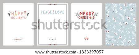 Bold Merry Christmas greeting cards. Universal trendy Winter Holidays art templates. Vector backgrounds. Royalty-Free Stock Photo #1833397057