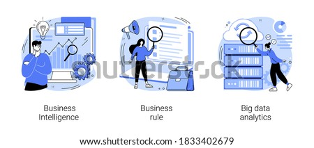 Enterprise strategy development abstract concept vector illustration set. Business Intelligence and business rule, big data analytics, application software, data management abstract metaphor. #1833402679