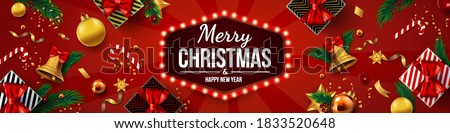 Christmas banner, Xmas sparkling lights garland with gifts box. Holiday's Background with Season Wishes and Border of Realistic Looking Christmas Tree Branches Decorated with Berries, Stars and Candy. #1833520648