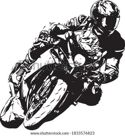 Motorcyclist at sport bike rides by empty asphalt road. sport bike. Vector Royalty-Free Stock Photo #1833576823