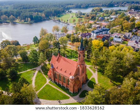 Aerial panoramic view of Lithuanian resort Druskininkai church in city park