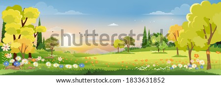 Spring landscape in village with green field and sunset,Vector flat cartoon rural farmland with mountain and forest, pink and blue sky, Natural scene in countryside,Panorama view on sunny day Summer Royalty-Free Stock Photo #1833631852