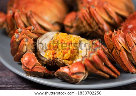 steamed chinese mitten crab, shanghai hairy crab with lots of crab roe