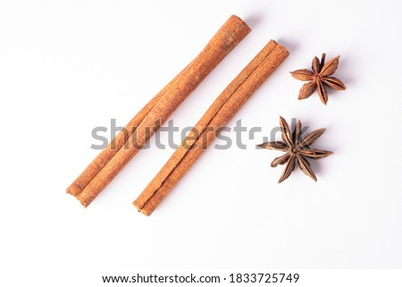 Cinnamon and Star anise reality in isolated with clipping path..Cinnamon helps relieve fatigue. Give freshness.Cinnamon sticks.Used as a food ingredient.Star anise.cinnamon. #1833725749