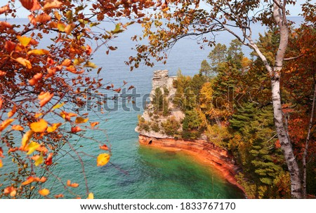 Miners Castle point in Pictured national lake shore in Michigan upper peninsula.