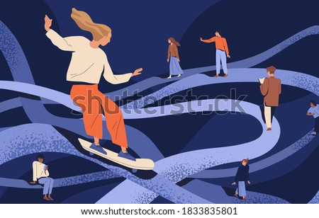 Psychological concept of important key points in memory or searching and finding life path. People going in past by psychotherapy. Flat vector cartoon illustration of people at tangled ways #1833835801