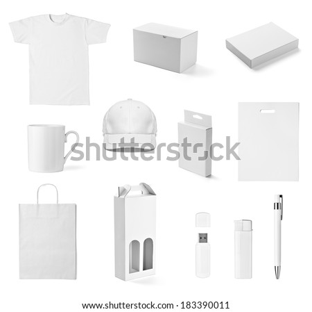 collection of  various white print templates on white background. each one is shot separately #183390011