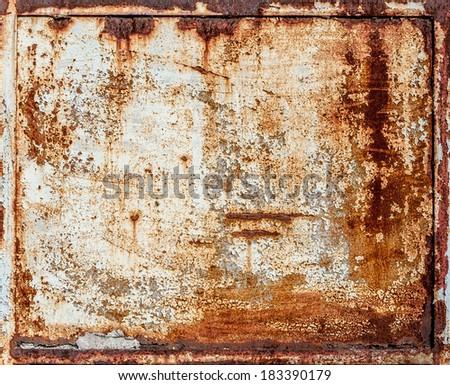 rusty metal panel Royalty-Free Stock Photo #183390179
