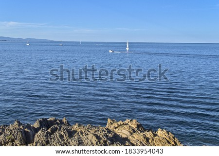 Nice picture of sailing ships sailing over the horizon in a Mediterranean sea in calam