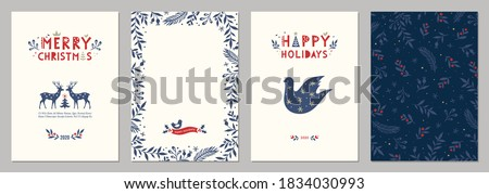 Bold Merry Christmas greeting cards. Universal trendy Winter Holidays art templates. Vector backgrounds. #1834030993