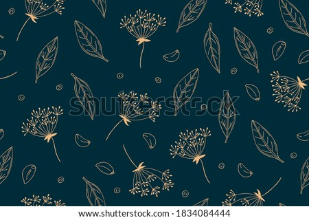 Seamless pattern from the set for pickles vegetables. Bay leaf, dill umbrellas, garlic, peppercorns. Vector background. Doodle illustrations drawn by hand Royalty-Free Stock Photo #1834084444