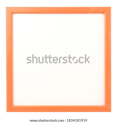 Orange wooden square frame for picture blank isolated on white background