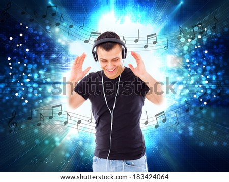 casual handsome man with headphones and notes all around him, music love and joy, abstract style