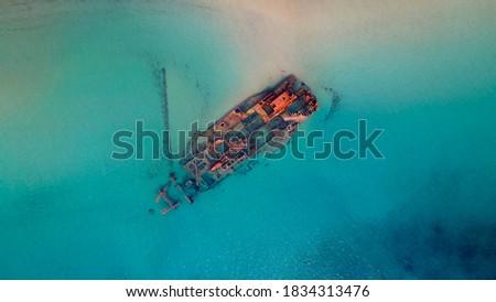 Drone pics over a shipwreck next to a tropical beach in Epanomi, Macedonia, Greece