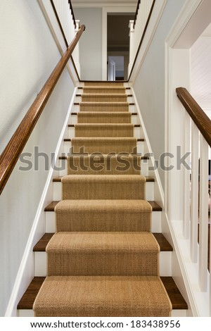 Wide View of wooden staircase with carpet runner and white molding.  #183438956