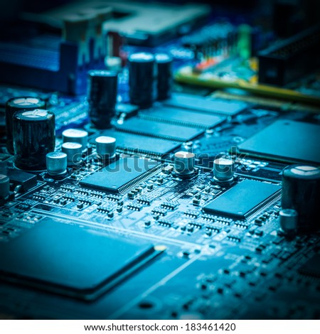 close-up of electronic circuit board with processor  #183461420