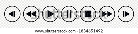Set of media player button icons.Play and pause buttons,video audio player,player button set icon symbol,play and pause vector button.Vector illustration #1834651492