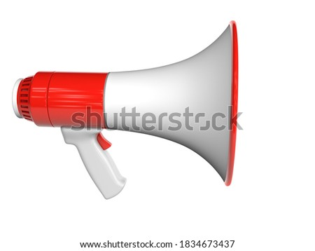 Red loudspeaker. isolated on white background with clipping path. 3d render.