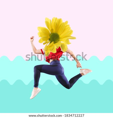 Jumping woman's body in red and dark blue sportswear headed by yellow flower with on modern illustrated background. Concept of creativity, beauty, ad, sales, copyspace. Contemporary art collage.