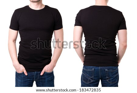 Black t shirt on a young man template on white background #183472835