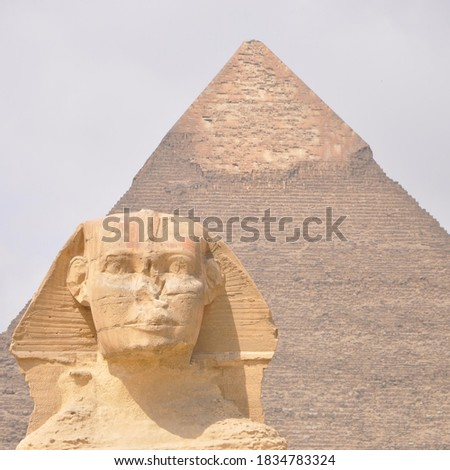 the architecture and sketch of pharaoh tomb and statue in Egypt #1834783324