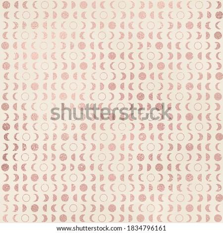 Rose Gold Metallic Pattern on Vintage Ivory Background, Digital Paper