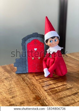 Christmas Elf and Festive Fairy Door for Holiday Decoration. Great for Elf on the Shelf #1834806736