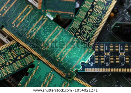 RAM modules, primarily used as main memory in personal computers, workstations, and servers. Big close-up. Royalty-Free Stock Photo #1834821271