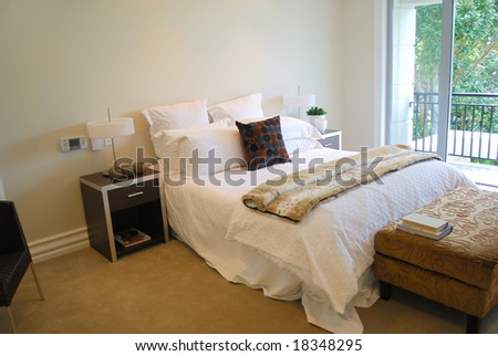 contemporary bedroom with modern furniture #18348295