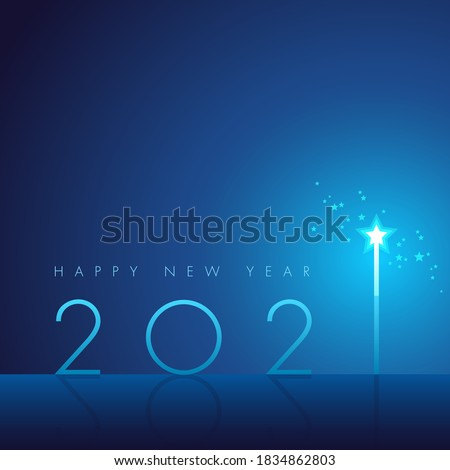 Happy New 2021 Year! With minimalistic illustration of a star wand. #1834862803