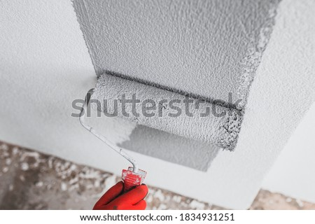 The painter paints the outer wall of the building with a gray paint roller - facade work - painting the plaster Royalty-Free Stock Photo #1834931251