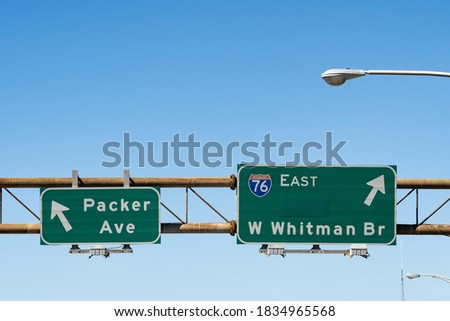 Interstate 76 highway signs for Walt Whitman Bridge and Packer Ave