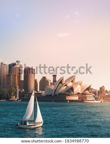 View of Sydney Opera House with sailboat  Royalty-Free Stock Photo #1834988770