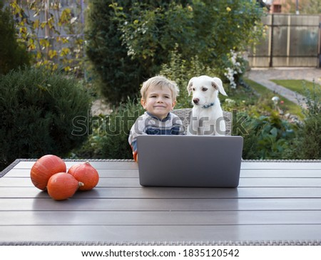 white puppy and toddler boy are sitting in front of pen laptop at a table in the garden. Modern childhood, funny photo, friendship between child and pet, life style. Autumn mood