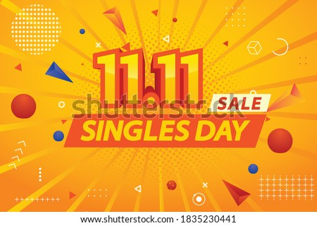 singles day sale.mega sale.web,graphic,banner.11.11 mega sale graphic template.11.11 graphic design.shopping day template.  #1835230441
